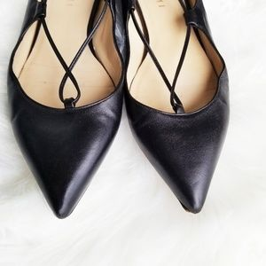 M. Gemi Shoes - M. Gemi | Black Leather Lace Up Pointed Flats